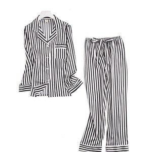 Image 5 - 블랙 화이트 줄무늬 잠옷 세트 여성 긴 소매 캐주얼 잠옷 패션 여성 잠옷 가을 homewear 뜨거운 판매 2019