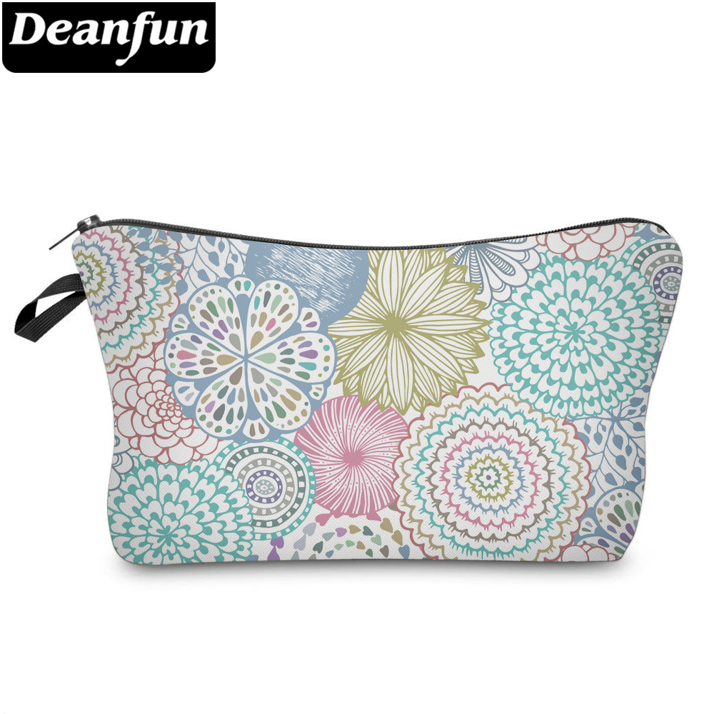 Deanfun Colorful Mandala Flower Printing Soft Cosmetic Bag Waterproof Purse Makeup Bag For Women Makeup Travel Bags Custom 51561