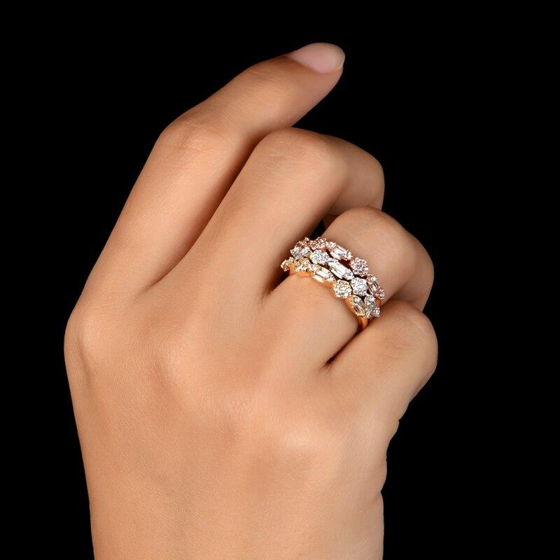 AINUOSHI mode 925 argent Sterling demi éternité bague de fiançailles ensembles simulé diamant mariage argent 3 pièces anneaux bijoux - 6