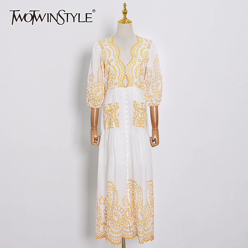 TWOTWINSTYLE Elegant Print Dresses Female V Neck Lantern Half Sleeve High Waist Side Split Long Summer Dress Women Fashion Tide