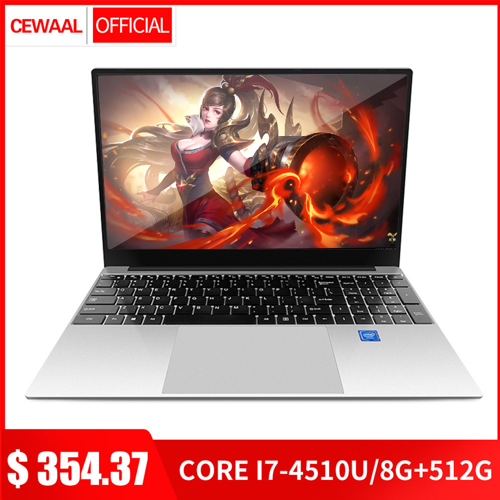 15.6 Inch Intel Core 7Gen I7 Laptop 8GB RAM 512GB SSD Windows 10 Metal Notebook 2.4G/5G Dual Band WiFi Gaming Laptop HDMI USB