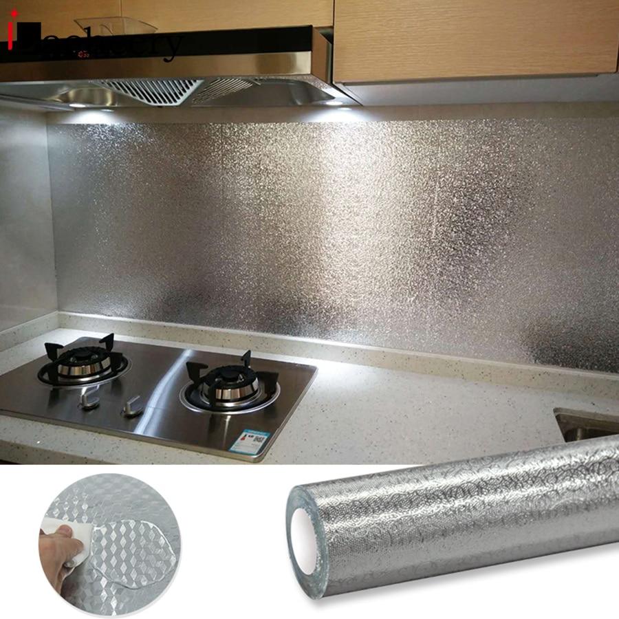Multifunctional Kitchen Stove Backsplash Oil Proof Wall Sticker Aluminum Foil Waterproof Removable Self Adhesive Vinyl Wallpaper