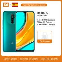 Promover código 21MARCA14 (- € 14) Helio-teléfono móvil G80, dispositivo móvil con 3GB de RAM y 32GB de ROM, versión Global, Xiaomi Redmi 9, cámara de 13MP + 8MP, batería de 5020mAh