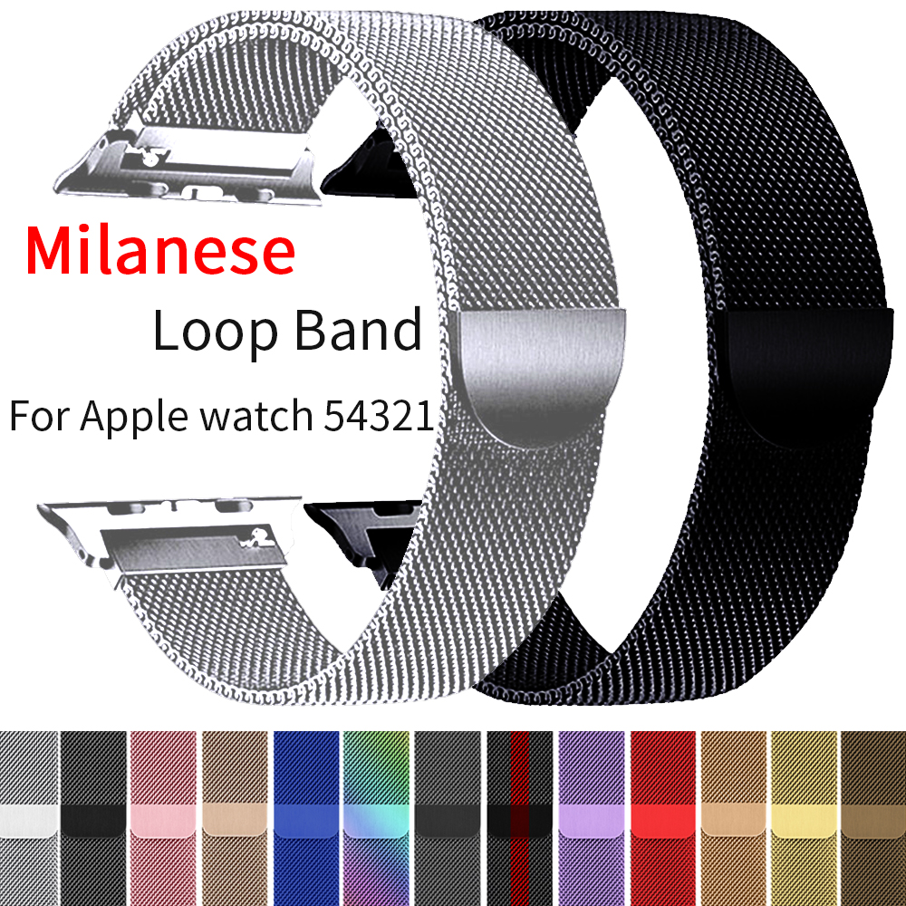 Milanese Loop Bracelet Stainless Steel Band For Apple Watch Series 1 2 3 42MM 38MM Metal Bracelet Strap For Iwatch 4 5 40MM 44MM