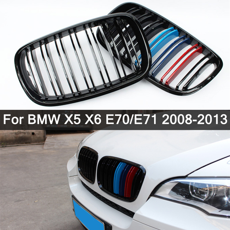 Для BMW X5 X6 E70 E71 2008-2013 глянцевая черная M-цветная двойная решетка в стиле Передняя решетка для радиатора гриль ремонт капота бампер грили Стайл...