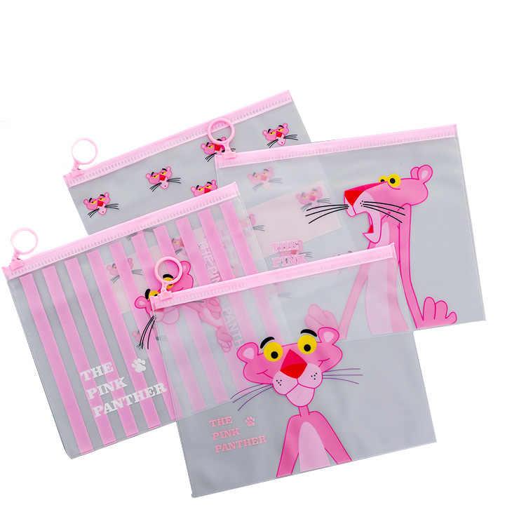 ピンクのヒョウ透明スクラブ化粧品袋旅行化粧ケースを構成するオーガナイザーストレージポーチトイレタリー女性洗浄キット