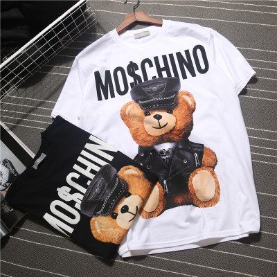 2020 Spring And Summer New Style Popular Brand Bear T-shirt Men And Women Short Sleeve Couple Clothes T-shirt Black And White WO