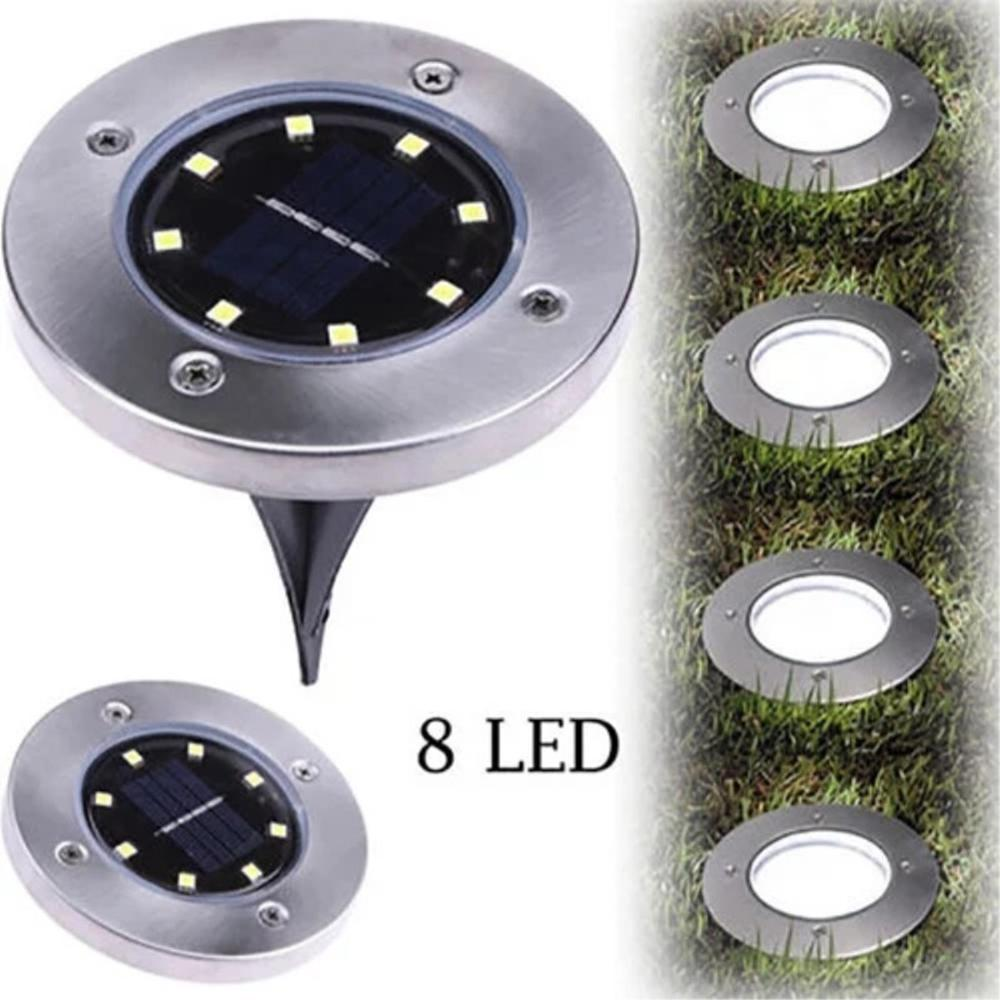 Lamp Outdoor Path Way Garden Decking 8-LED Solar Power Buried Light Under Ground White Warm White Light Lawn Lamp