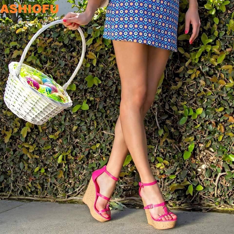 ASHIOFU Handmade Womens Wadge Heel Sandals T-strap Sexy Peep-toe Party Prom Shoes Club Fashion Evening Sandals Shoes