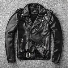 Новая брендовая куртка из натуральной кожи. Мужской моторный Байкер из овчины. Тонкий плюс размерные куртки. Кожаная верхняя одежда