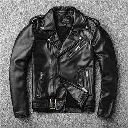 ¡Ventas envío gratis! nueva chaqueta de cuero auténtico. abrigo de piel de oveja para motociclista para hombre. chaquetas delgadas de talla grande. de cuero outwear