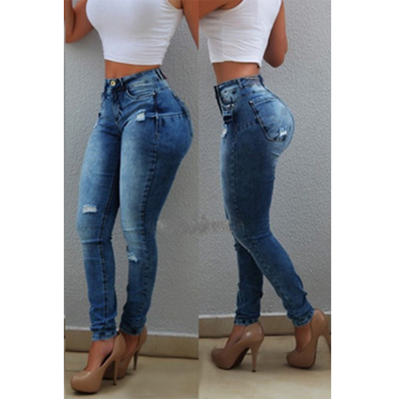 Casual Pencil Trousers High Waist Ripped Jeans Skinny Stretch Denim Pants