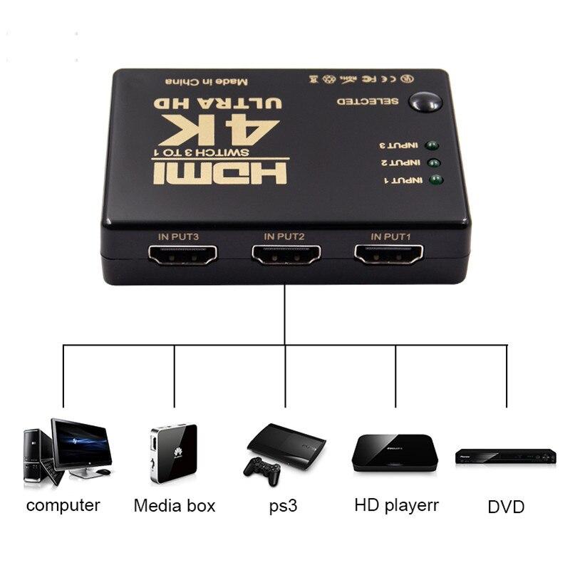 3 em 1 para fora hdmi switcher splitter 3 portas 4 k * 2 k 1080 p interruptor seletor 3x1 caixa de divisor ultra hd para hdtv xbox ps3 ps4 multimídia