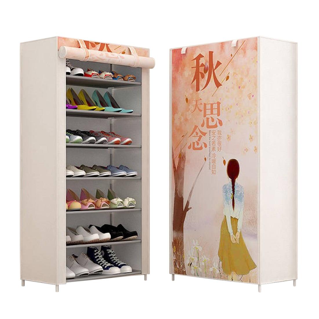 Hot 8 couches étagère à chaussures anti-poussière haute capacité stockage chaussure armoire étagère à chaussures maison étagère de rangement étagère organisateur-Miss automne
