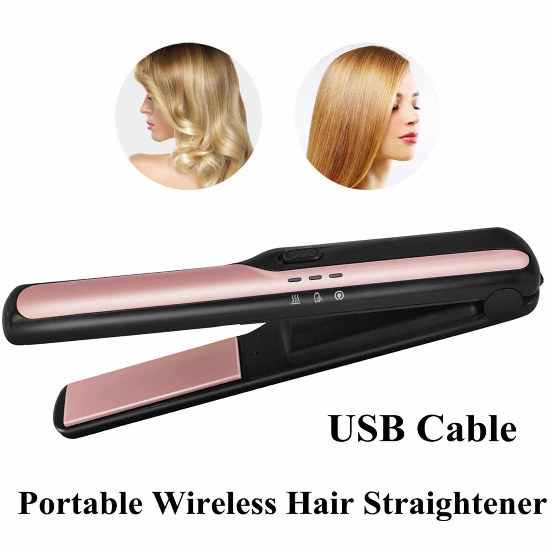 מיני USB אלחוטי שיער מחליק עם כוח בנק נעילת מערכת נסיעות שטוח איירונס נייד אלחוטי מיישר שיער ברזל