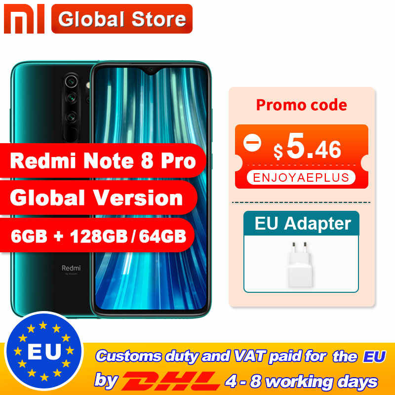 Global Versie Xiaomi Redmi Note 8 Pro 6Gb 64Gb/128Gb Smartphone 64MP Quad Camera Helio G90T octa Core 4500Mah Nfc