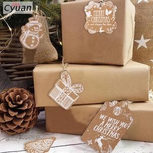 Cyuan 50pcs Christmas Gift Tags Santa Claus Snowflake Kraft Paper Tag with rope Label Xmas Gift for Xmas Party DIY Supplies