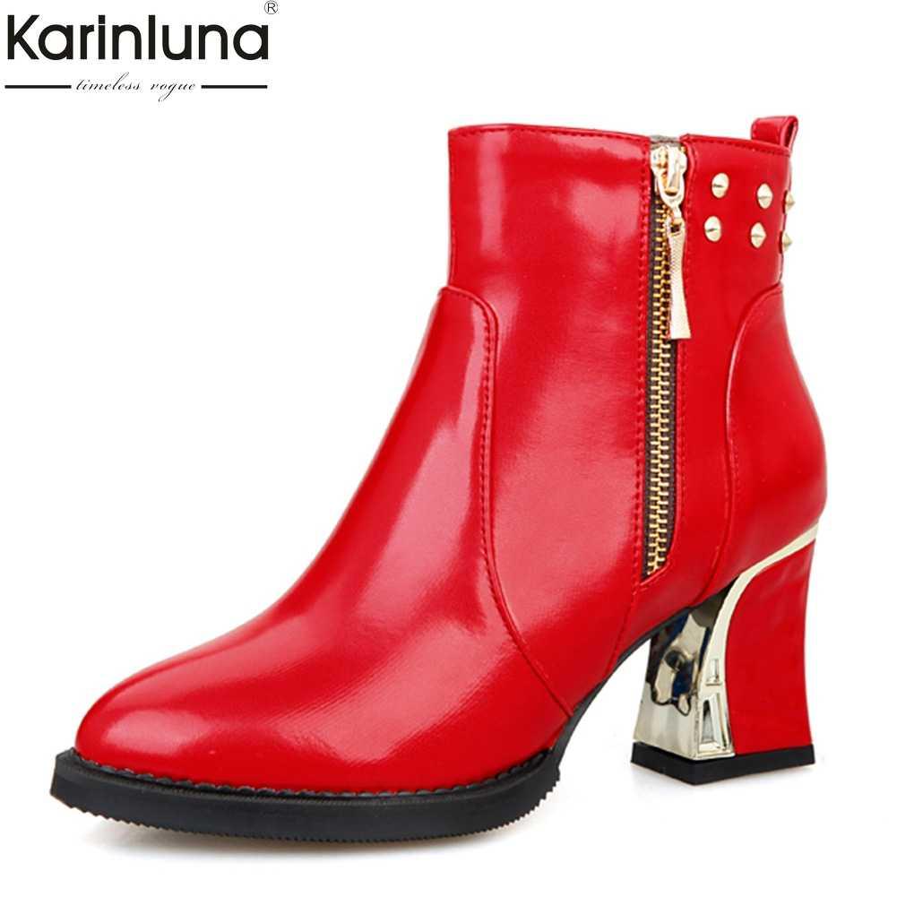 Karinluna 2019 แฟชั่นคลาสสิกซองหนังข้อเท้ารองเท้าผู้หญิง rivets ขนาดใหญ่ 48 รองเท้าส้นสูงสำนักงาน lady รองเท้าผู้หญิงรองเท้าหญิง