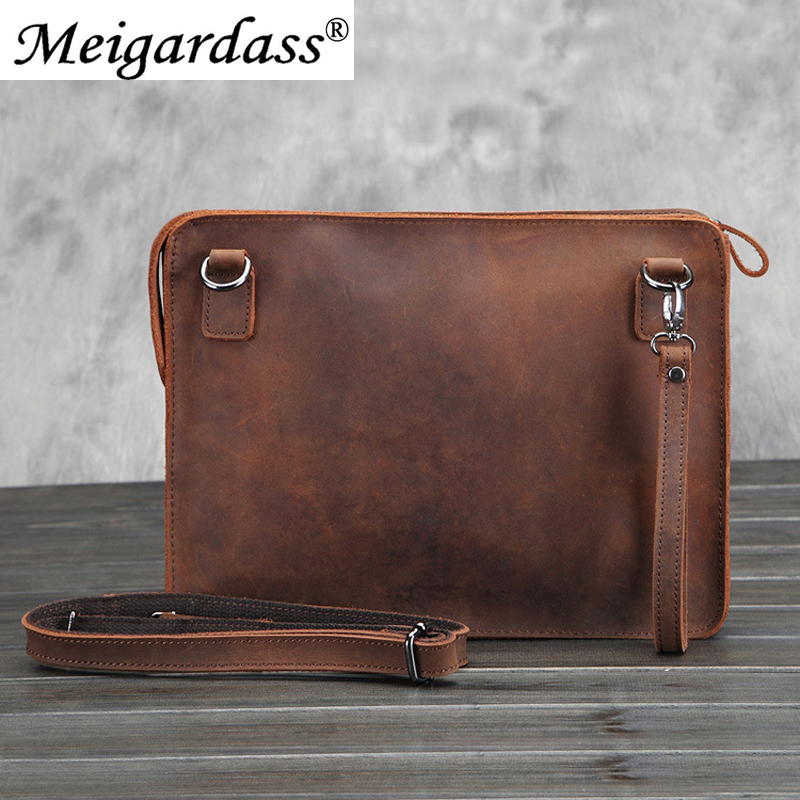 Business Briefcase Purse-Bag Laptop Office Handbags Crazy-Horse Vintage Genuine-Leather