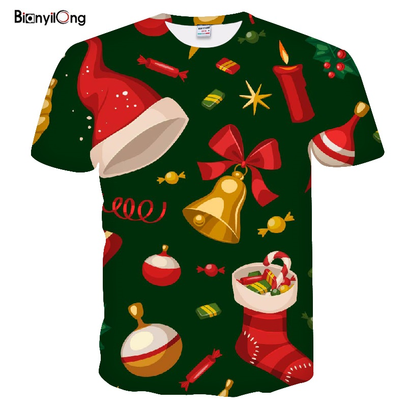 2019 New T Shirt Men Fashion Christmas T-shirts Men Funny Santa Printed Tshirts Casual 3d T Shirt Snowman Party Tshirt Tops Tees