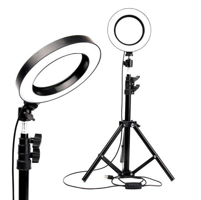 Mờ Đèn LED Chụp Ảnh Phòng Thu Chuông Camera Ánh Sáng Điện Thoại Video Hình Khuyên Đèn Chân Máy Chụp Hình Selfie Vòng Ánh Sáng Cho Canon Nikon sony