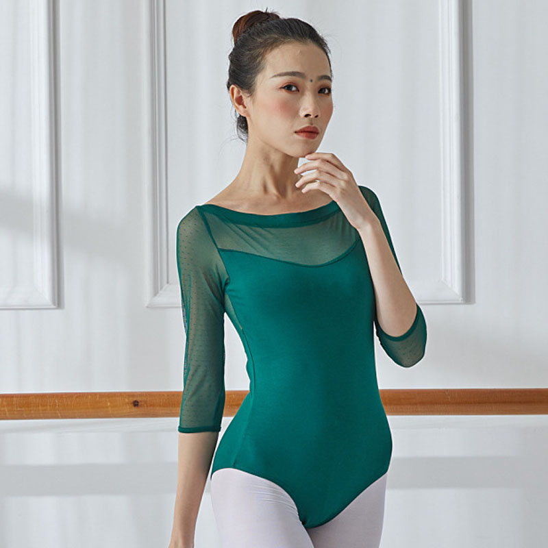 Ballerina Women Ballet Leotard Dance Wear Adult Soft Mesh 3/4 Sleeve Stretch Gymnastics Leotard Bodysuit Ballet Dress Dancewear