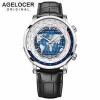AGELOCER Swiss Brand Designer Men's Watch with World Time Date Power Reserve 80 Hours Self-winding Mechanical Automatic Watches