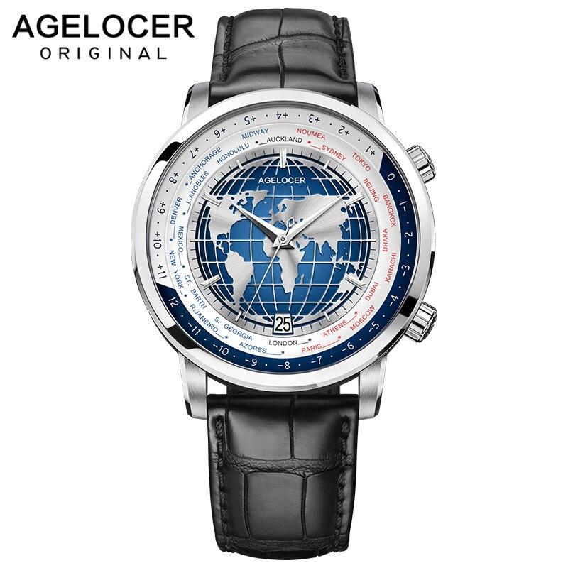 Montre pour hommes de marque suisse AGELOCER avec réserve de marche de la Date mondiale 80 heures montres automatiques mécaniques à remontage automatique