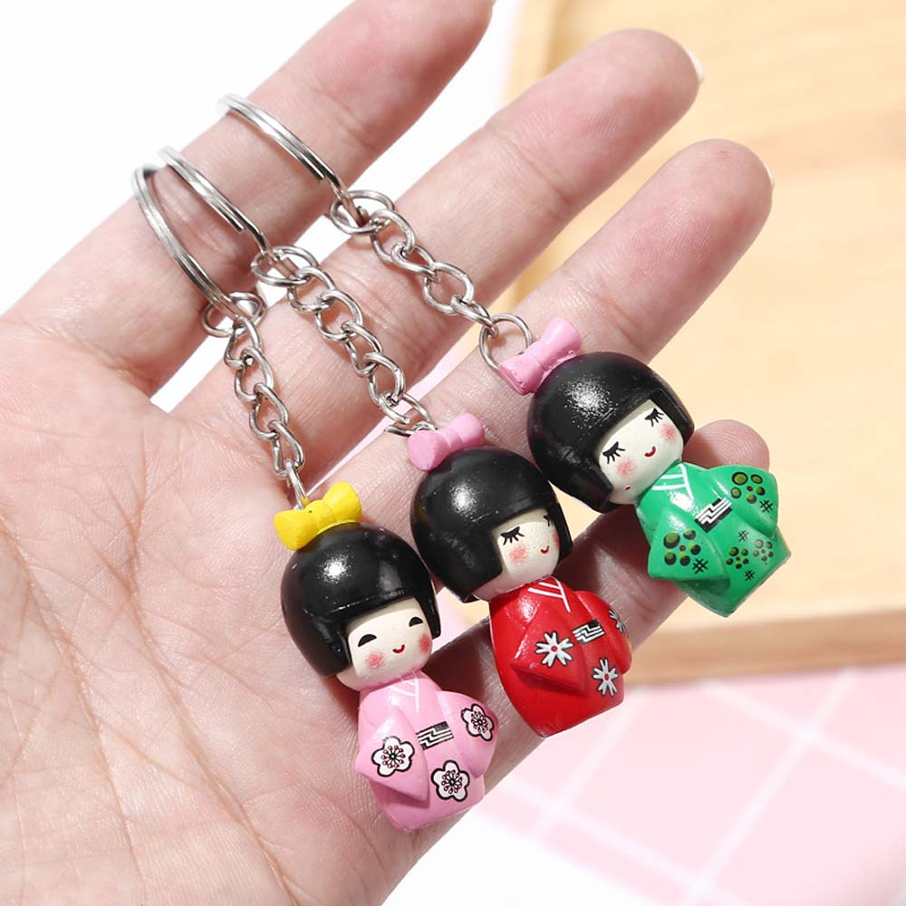 Японское кимоно девушка мультфильм кукла брелок для девочек 1 шт смешанный цветной брелок