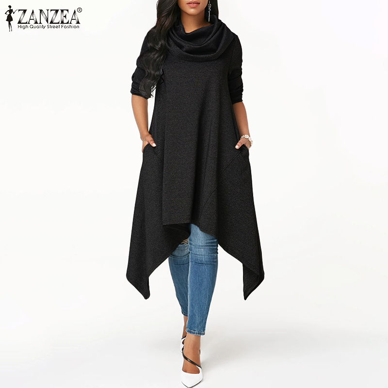 ZANZEA Women Asymmetrical Hem Turtleneck Hoodies Sweatshirts Loose Pullovers Hoodie Sweatshirt Pockets Sudadera Mujer Plus Size