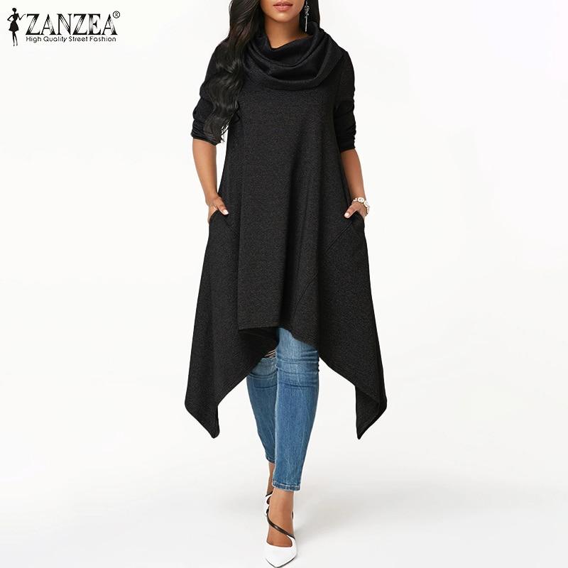 ZANZEA Women Asymmetrical Hem Turtleneck Hoodies Sweatshirts Loose Pullovers Hoodie Sweatshirt Pockets Sudadera Mujer Plus Size