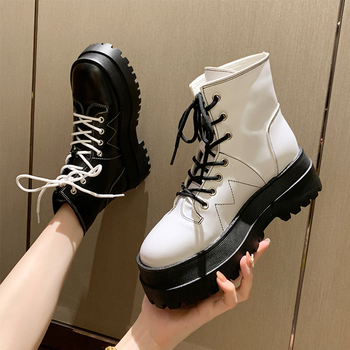 Women Boots Fashion Platform Ankle Ladies Shoes Short Boot Female Low Heels 2020 Autumn Botas Mujer Size 40