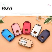 TPU+PC Car Key Cover Case Fit for Honda Hrv Civic 2017 Accord 2003-2007 Cr-v Freed Pilot Styling Ring Holder