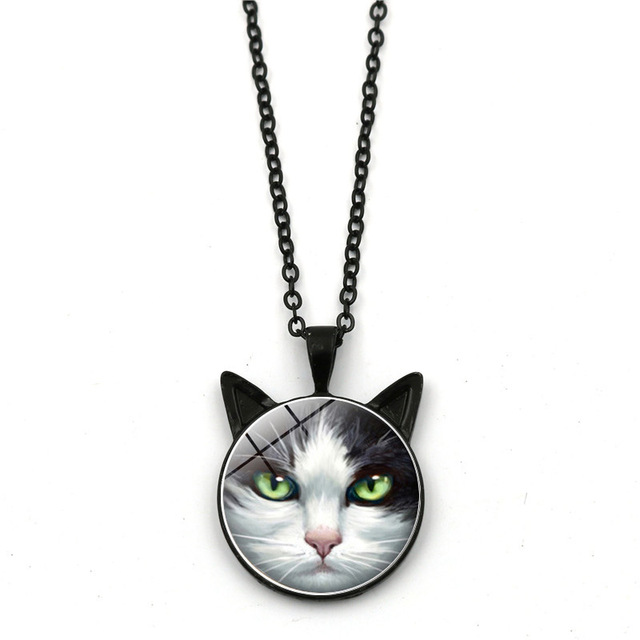 Gray Cat Ears Pendant Necklace
