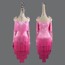 Dance-Dress Latin-Dance-Costume Tassel-Stones New-Style Women Spandex for 2XS-6XL