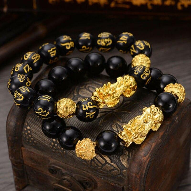 Feng Shui Obsidian Stone Beads Bracelet Men Women Unisex Wristband Gold Black Pixiu Wealth and Good Luck  Women Bracelet 4