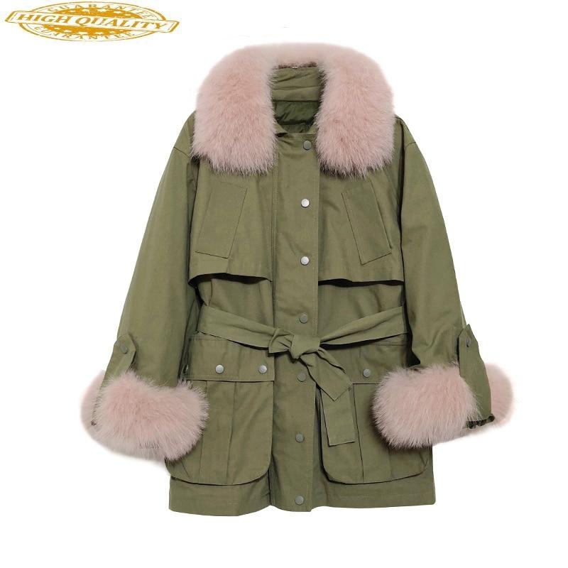 White Duck Down Jacket Winter Coat Women Real Fox Fur Collar Korean Womens Down Jackets Brands Piumino Donna KJ3671
