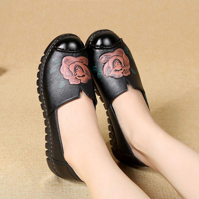 Loafers Women Spring Shoes Genuine Leather Flats For Woman High Quelity Flower Loafers Female Casual Shoes