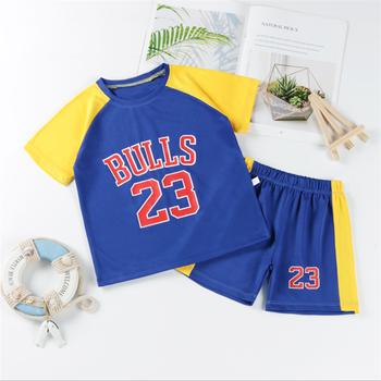 Chłopcy dziewczęta sport koszykówka garnitury lato nowy styl dzieci odzież na co dzień list T-Shirt 2-częściowy zestaw dla dzieci tanie i dobre opinie COTTON Stretch Spandex Damsko-męskie 25-36m 4-6y 7-12y 12 + y CN (pochodzenie) Z okrągłym kołnierzykiem Zestawy Brak