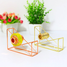 Nordic Metal Tape Cutters Geometric Shape Wrought Iron Taper Holder Floor Type Tape Cutter Stationery Office Supplies Decorative 2 5 iron tape cutter red