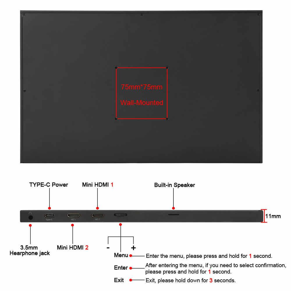 17,3-дюймовый портативный монитор узкая сторона компьютер Расширение 1080 p