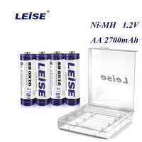 Leise Original AA 2700mah Rechargeable Battery 1.2V Ni-MH 2A nimh Batteries with Battery Cases For RC Toys Mouse Microphone