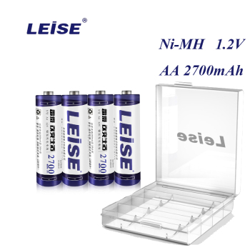 Leise Original AA 2700mah akumulator 1 2V Ni-MH 2A nimh baterie z etui na baterie do RC zabawkowe myszki mikrofon tanie i dobre opinie Baterie Tylko 4 6 8 10 12pcs lot Pakiet 1 high capacity real 2700mah pcs Up to 1000 times 50 3mm within (0 1-0 5) deviation