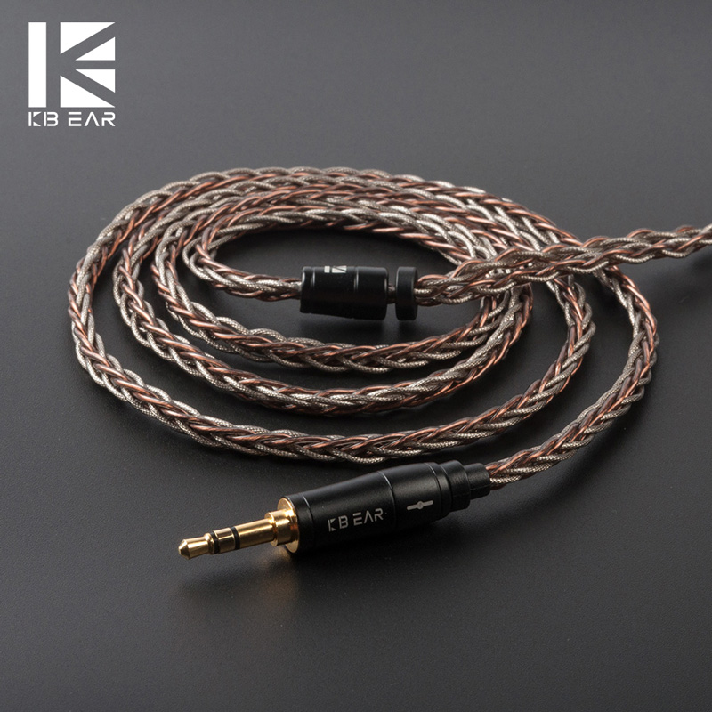 cheapest KBEAR rhyme 8 core UPOCC single crystal copper  Silver foil cable winding cable  2pin MMCX QDC TFZ with 2 5 3 5 4 4 materia  KS2
