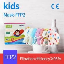 Ffp2 mascarillas ffp2 crianças máscara 5 camadas máscara facial ffp2 para meninas meninos respirador máscara protetora ffp2 crianças máscaras à prova de poeira