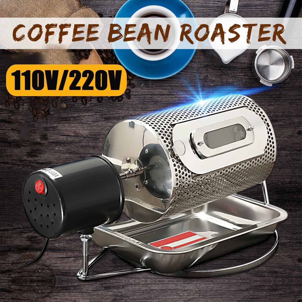 Warmtoo 220V Stainless Steel Drum Type Coffee Roaster Small Household Grains Beans Baking Machine Electric Roasting Machine