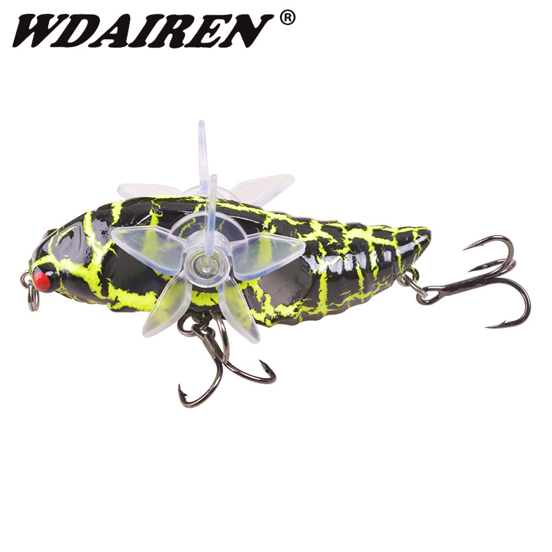 1Pcs Cicada Whopper Topwater Popper Fishing Lures 75mm 15.5g Hard Bait Wobblers Rotating Double Propeller Fishing Tackle