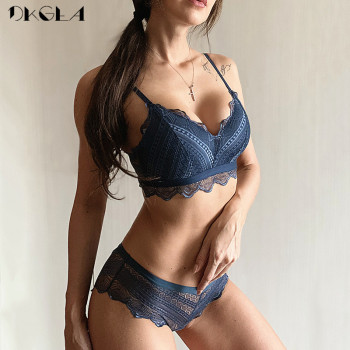 New Top Blue Bra Panties Set Lace Lingerie Thin Cotton  Brassiere Wire Free Embroider Bra Women Underwear Set Sexy Deep V Gather 1