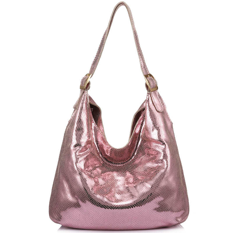 Brand women genuine leather shoulder bag female fashion handbag hobos large capacity with serpentine prints