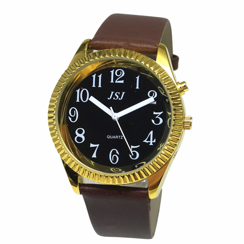 French Talking Watch With Alarm Function, Talking Date And Time, Black Dial, Brown Leather Band, Golden Case TAF-306